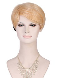 6A Synthetic Cosplay Wigs Women's Short Straight Black/Honey Blonde Wig Heat Resistant Fiber Wig