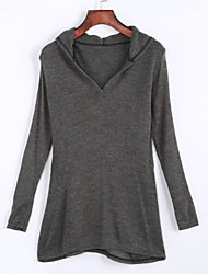 Women's Casual/Daily Street chic Summer T-shirt,Solid Hooded Long Sleeve Beige / Gray Cotton Medium