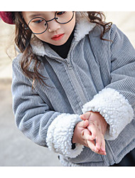 Girl Going out Casual/Daily Solid Suit & Blazer,Faux Fur Cotton Organic Cotton Winter Fall Long Sleeve