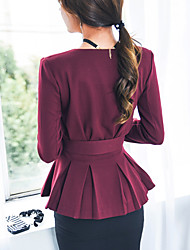 New Korean temperament OL ladies waist fashion small V-neck double-breasted jacket skirt dress women