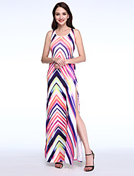 Women's Casual/Daily Sexy Criss-Cross Split Bandage Sheath Dress,Striped / Color Block Halter Maxi Sleeveless