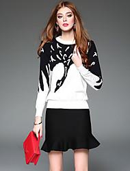 WEIWEIMEI Women's Casual/Daily Vintage Winter Set Skirt SuitsPrint Round Neck Long Sleeve White Cotton / Polyester Medium