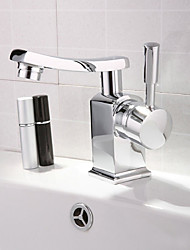 Contemporary Brass Chrome Finish Bathroom Sink Faucet - Silver