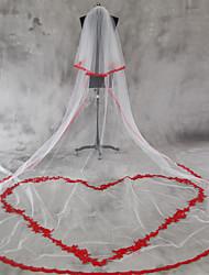 Véus de Noiva Duas Camadas Véu Ruge Véu Catedral Borda com aplicação de Renda Borda Recortada Tule Renda