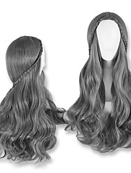 28inch Body Wave Fashion 3Color Available Grey Brwon Daily Weraing Wig Heat Resistant Wig for Ladies with Braid Hairstyle