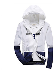 Men's Fashion Slim Sunscreen Hooded Jacket Letter Hooded Long Sleeve Fall White / Black / Gray Cotton / Polyester Thin