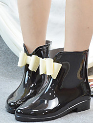 Women's Boots Spring Fall Jelly PVC Outdoor Low Heel Bowknot Black Pink Burgundy Almond Others