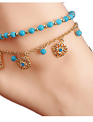 Women'S AlloyRhinestoneTurquoise Anklet Jewelry 1pc