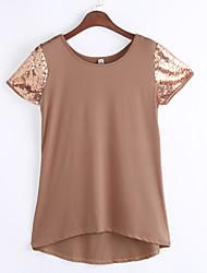 Damen Patchwork Einfach / Street Schick Ausgehen / Lässig/Alltäglich T-shirt,Rundhalsausschnitt Sommer / Herbst Kurzarm BraunBaumwolle /