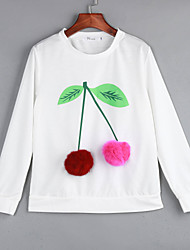 Women's Casual/Daily Cute Regular PulloverFloral White Round Neck Long Sleeve Polyester Fall / Winter