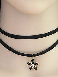 Women Flower Double Layer Choker Necklaces Jewelry Party Black
