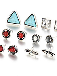 6 PCS/Set New 2017 Vinatge Silver Color Crystal Eyes Earrings For Women Punk Accessories Turquoise Stud Earring Party Jewelry