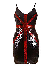 Femme Strass Moulante Robe Décontracté/Quotidien Vintage,Lettre Col Arrondi Au dessus du genou Sans Manches Bleu Rouge Blanc Noir Coton