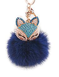 алмаз лиса голова мех кролика мяч сплава брелок моды сумки украшения
