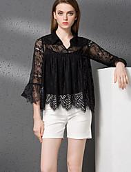 Tee-shirt Pantalon Costumes Femme,Couleur Pleine Décontracté / Quotidien simple Automne Manches ¾ Col en V Noir Coton / Polyester
