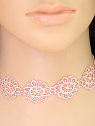 Women's Choker Necklaces Collar Necklace Tattoo Choker Lace Flower Tattoo Style Flower Style Fashion Pink Jewelry Casual 1pc