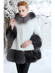 Women's Casual/Daily Simple Fur Coat,Solid Hooded Long Sleeve Winter White Black Faux Fur Thick