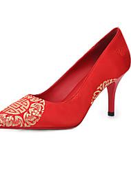 Damen-High Heels-Hochzeit / Kleid / Party & Festivität-Satin-Stöckelabsatz-Komfort-Rot