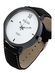 Men's Wrist watch Quartz Leather Band Black Brand