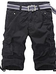 Hommes Grandes Tailles Droite Mince Chino Short Pantalon,Actif Vintage Street Chic Décontracté / Quotidien Sportif Couleur PleineTaille