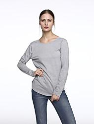 Sexy / Informell Rund - Langarm - FRAUEN - T-Shirts ( Baumwoll Mischung )