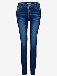 Women's Skinny Jeans Pants,Casual/Daily Simple Solid High Rise Button / Elasticity Polyester Micro-elastic Fall