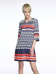 Women's Print Blue Dress  Vintage  Casual Round Neck  Length Sleeve