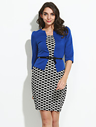 Women's Plus Size / Casual/Daily Street chic Sheath Dress Knee-length / Above Knee Blue / Red / Black /