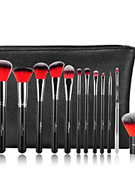 MSQ New 12pcs Makeup Brushes Set Alminium Ferrule Cosmetic Tool Professional Makeup Brush High Quality Synthetic Hair With PU Leather Case(Red)