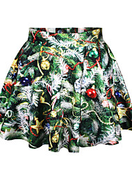Women's A Line Print / Color Block Skirts,Going out Cute Mid Rise Mini Elasticity Polyester Stretchy Summer