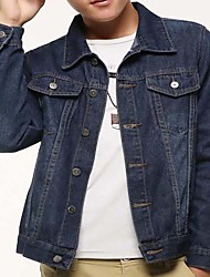 Men's Casual/Daily Simple Denim Jackets,Solid Shirt Collar Long Sleeve Spring / Fall Blue Others Medium