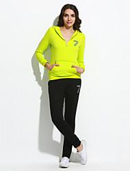 Activewear Set Femme Grandes Tailles Décontracté / Quotidien Actif Imprimé Micro-élastique Rayonne Manches Longues Automne