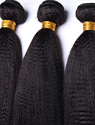 Vinsteen Yaki Straight Human Hair Weaves Brazilian Texture 4 Bundles 100g/pcs 8-30inches Yaki Human Hair Extensions Natural Color