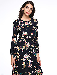 Women's Party/Cocktail Vintage / Street chic Swing Dress,Print Round Neck Maxi Long Sleeve Blue Cotton All Seasons
