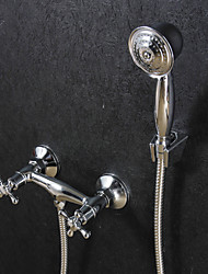 Contemporary Wall Mounted Handshower Included with  Ceramic Valve Two Handles Two Holes for  Chrome , Shower Faucet