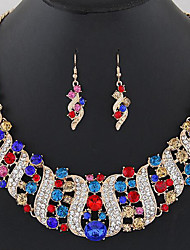 Jewelry Set Multi-stone Gemstone Simulated Diamond Alloy Statement Jewelry Fashion Red Blue Blue/Green Party Daily 1set1 Necklace 1 Pair