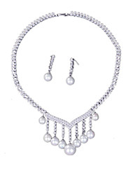 Jewelry 1 Necklace 1 Pair of Earrings Pearl Daily Pearl 1set Women Silver Wedding Gifts