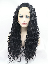Sylvia Synthetic Lace front Wig Natural Black Kinky Curly Heat Resistant Synthetic Wigs