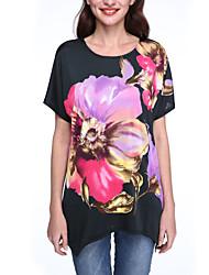 Damen Blumen Boho / Street Schick Lässig/Alltäglich T-shirt,Rundhalsausschnitt Sommer Kurzarm Schwarz Kunstseide Dünn
