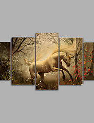 Canvas Set / Unframed Canvas Print Animal / Fantasy Unicorn Five Panels Canvas Horizontal Print Wall Decor For Home Decoration