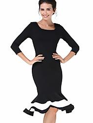 Trompette/Sirène Robe Femme Sortie Sophistiqué,Mosaïque Col Carré Mi-long Manches ¾ Noir Coton Polyester Printemps Automne Taille Normale