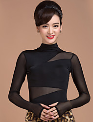 Ballroom Dance Tops Women's Training Rayon Tulle Splicing 1 Piece Long Sleeve Natural Top Top