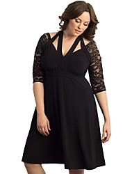 Women's Black Alluring Lace Sleeve Swing Plus Dress