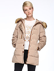 Women's Vintage/Party Thick Long Sleeve Long Parka (Cotton/Feather)
