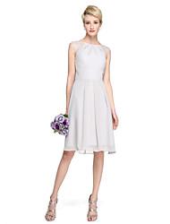 2017 Lanting Bride® Knee-length Chiffon Lace Elegant Bridesmaid Dress - A-line Jewel with Pleats