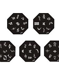 Металлические плиты с изображением узоров для нейл арта, кленовый лист