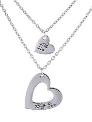 Necklace Non Stone Layered Necklaces Jewelry Daily Casual Valentine Heart Basic Design Heart Sterling Silver Women 1pc Gift Silver
