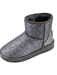 Women's Boots Winter Platform Leather Casual Flat Heel Sparkling Glitter Black Pink Silver Walking