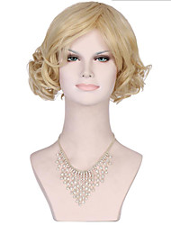 6A Synthetic Cosplay Wigs Women's Short Body Wave Blonde Wig Heat Resistant Fiber Wig