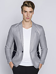 Men's Personality To Spell A Button Blazer Color Block Notch Lapel Long Sleeve Blue / White / Black / Gray Cotton / Polyester